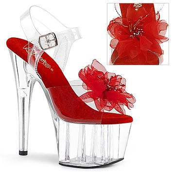 """Adore 708BFL Clear Ankle Strap Sandals Beaded Flower Design 7"""" High Heels - Red"""