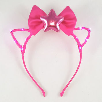 Pink LED headband, Cat ears, Bow headband, Star headband, Rave wear, Cosplay, Cat ear headband, Anime, Festival, Cat ears headband