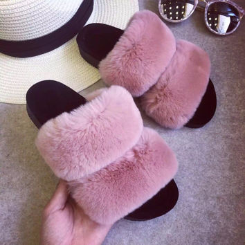 spring autumn women sandals fluffy stuffed a word procrastinates thick bottom plush slippers female indoor outdoor wet shoes S20