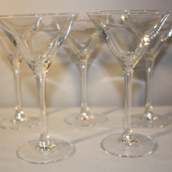 Vintage Luminarc Martini Glasses, Clear Glass Barware, Set of Five Glasses