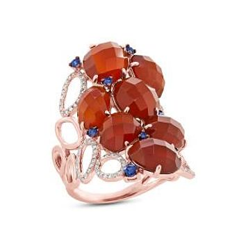 0.29ct Diamond & 13.92ct Red Agate & Blue Sapphire 14k Rose Gold Ring Size 9
