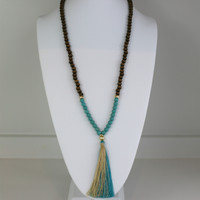 Brown and Turquoise Long Tassel Necklace