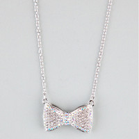 Full Tilt Abalone Rhinestone Bow Necklace Silver One Size For Women 20781114001