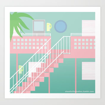 Motel Paradise Art Print by Claudia Duarte