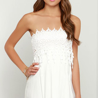 Pace and Patience Strapless Ivory Lace Dress