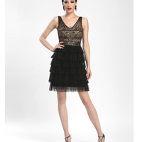 Sue Wong Resort 2014 - Black & Cognac Fringe Cocktail Dress