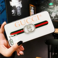 GUCCI Fashion Glass Letter Diamond  iPhoneX 8 8 Plus 7 7 Plus iPhone Cover Case