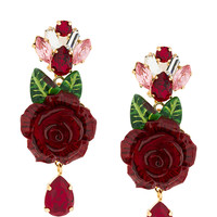 Dolce & Gabbana Crystal Rose Drop Earrings - Farfetch