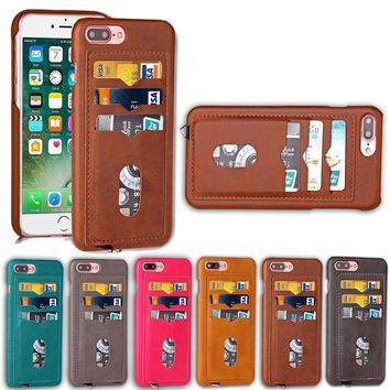 Shockproof Phone Cases for iPhone 5 5S SE 6 6S 7 Plus leather card holder Hybrid Full Protect Case for iPhone 7 Anti-Knock