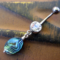 Abalone Bead Belly Button Jewelry Ring Navel Piercing Paua Sea Shell Drop Charm Dangle Seashell Bar Barbell #azeetadesigns,