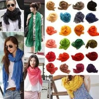 Women Girl Solid Candy Color Ruffle Voile Extra Long Scarf Shawl Head Wrap