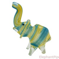 Sky Blue Yellow Baby Elephant Pipe