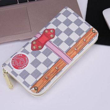 Louis Vuitton Fashion Print Lock Buckle LV Women Men Wallet Zipper  Full Color White(khaki stripe)