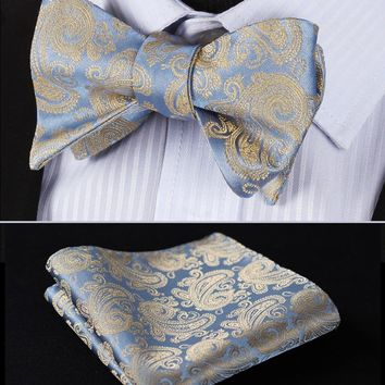 BP809E Beige Blue Paisley 100%Silk Jacquard Men Butterfly Self Bow Tie BowTie Pocket Square Handkerchief Hanky Suit Set