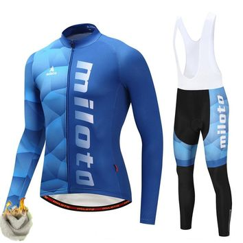 Miloto Winter Thermal Fleece Cycling Jersey Set Warm Bicycle Cycling Clothing Mountain Road Racing Sport Bike Jersey Kit Clothes