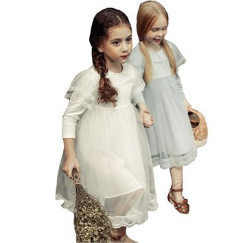 2017 Newest Summer Cute Lace Baby Girls Dress Korean Style Retro Princess Clothes For Kids Toddler Teens Children Costume