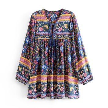 V-Neck with Tie Boho Dress Vintage Floral Print Casual Short Dresses Long Sleeve Women Dress Beach Dresses Vestido