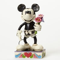 disney traditions mickey black and white with flowers jim shore new with box