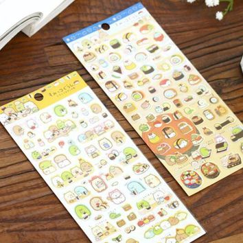 1pcs/lot  New Japan Cartoon Sushi Animal Gilding style sticker DIY multifunctional sticker office school supplies