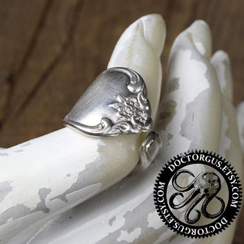 Fredericksburg 1968 Spoon Ring - Handmade by Doctorgus from Recycled Vintage Silverware - Repurposed Upcycled Silver Spoon Jewelry Free Ship