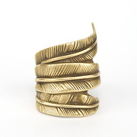Antiqued feather ring - adjustable - bold ring