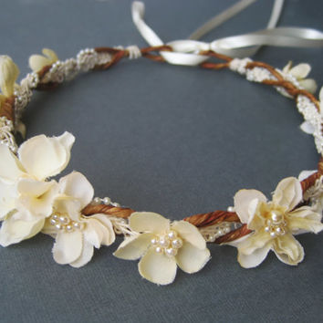 Flower Crown, Bridal Headpiece, Ivory Rustic Wreath, Wedding Hair Accessories, Pearls, Vintage Inspired, Romantic,