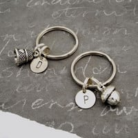 Peter Pan Kiss Key Chains, Set of 2 with Hand Stamped Initials