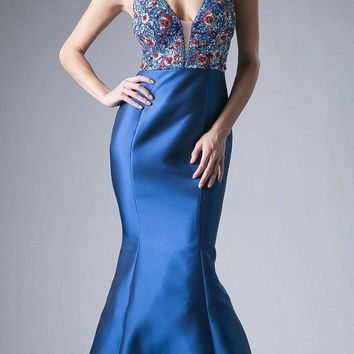 2b24f1726a Teal Beaded Mermaid Prom Gown with Plunging V-Neck