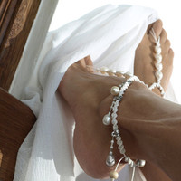 White Lady Wedding, Barefoot Sandal, Anklet, Shiny White Pearl, 1 Pair