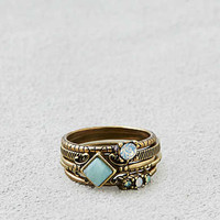 AEO Mint & Opal Shapes Ring 5-Pack, Gold