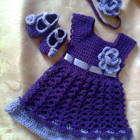 Purple girl dress, headband diaper cover shoes