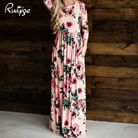 2017 Sexy Women Floral Print 3/4  Sleeve Boho Dress Ladies Party Long Maxi Dress Pocket Ice Silk Summer Beach Party 5 Colors