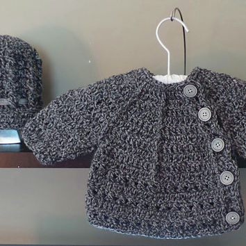 Crochet Baby Coat and newsboy hat set in gray tweed with light gray buttons and silk hat tie; baby jacket; baby sweater & hat; newsboy hat