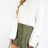 Stay Close Olive Suede Mini Skirt