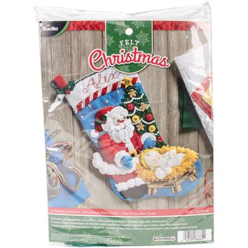 "A Season To Believe Bucilla Felt Stocking Applique Kit 18"" Long"