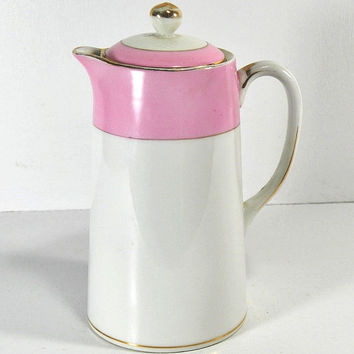 Nippon Porcelain Vintage Pitcher Pink And White Gold Trimmed