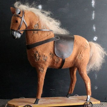 Vintage Horse on Wheels, Vintage Mohair Horse