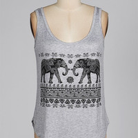 Elephant Herd Tank Gray