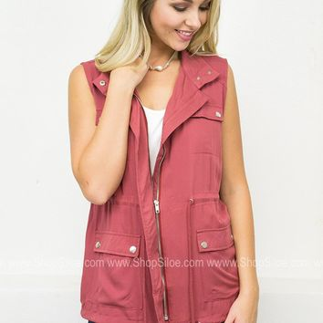 Sleeveless Drawstring Vest | Red