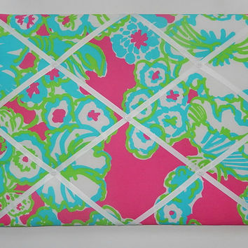 New memo board made with Lilly Pulitzer Pop Pink A Delicacy fabric