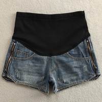 Trendy Elastic Patchwork Side Zipper Embellished Maternity Shorts For Women