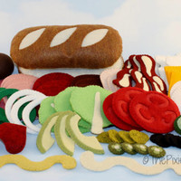 NEW!  Felt Food 70 pc Sub Sandwich Set  WOOL BLEND