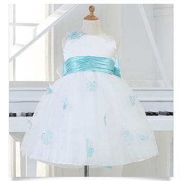 Hot Sale White Princess Girl Party Birthday Dresses Tutu Wedding Dress for Christmas With Handmade Flowers And Big Bow 12M-12Y