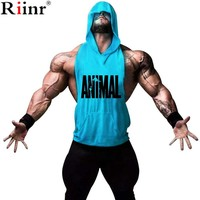 Riinr 2017 New Spring Fashion Mens Tanks Tops Singlet Hooded Men's GYMS Stringer Hoodie Tank Top Men Muscle Fashion Shirt Vest