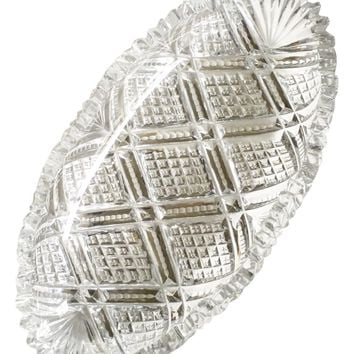 Vintage Lead Cut Crystal Serving Dish
