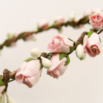 Flower crown, Rustic wedding hair accessories, Bridal headpiece, Floral headband, Wreath, Pink- ROSEBUD