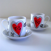 Love Mugs Set Ceramic Cappuccino Cups Heart Arrow Initials Customize Personalize Black White Red - replacement for espresso cup set