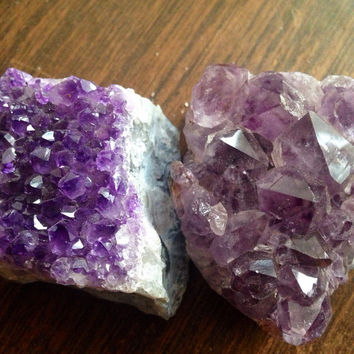 Two Amethyst Clusters Raw Amethyst Geode Clusters Healing Crystals and Stones Amethyst Chunks Amethyst Crystals