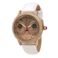 Betsey Johnson BJ00278-16 Women's Pink Owl MOP Dial Rose Gold Steel White Leather Strap Crystal Watch