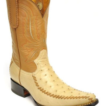 Gavel Men's Spanish Toe Genuine Ostrich Handcrafted Cowboy Boots-Oryx